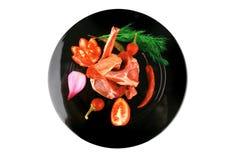 Costillas y verduras del cordero Foto de archivo