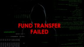 Costituisca un fondo per il trasferimento venuto a mancare, tentativo infruttuoso di rubare i soldi dal conto bancario immagine stock