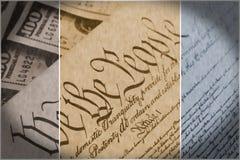 Costituzione degli Stati Uniti con cento banconote in dollari che si siedono sopra - concetto di crisi del soffitto di debito deg Fotografie Stock
