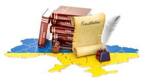 Costituzione del concetto dell'Ucraina, rappresentazione 3D illustrazione di stock