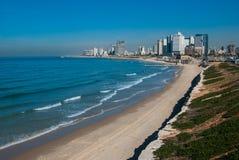 Den Tel Aviv kustlinjen beskådar Fotografering för Bildbyråer