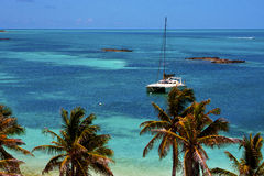 Costline boat catamaran in the  blue lagoon relax    contoy  mex Stock Image