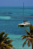 Costline boat catamaran in the  blue lagoon relax   isla contoy Stock Photo