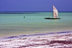 Costline boat pirague in the  blue lagoon relax  of   africa Royalty Free Stock Photography