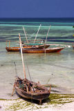 Costline boat pirague  the  lagoon relax  of zanzibar africa Stock Image