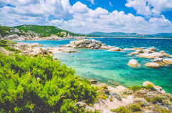 Costline of Costa Serena with sandstone rocks in sea, Sardinia, Italy Royalty Free Stock Images