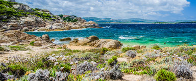 Costline of Costa Serena with sandstone rocks and sea waves, Sardinia, Italy Stock Photography