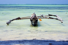 Costline  pirague in the  blue lagoon relax     zanzibar africa Royalty Free Stock Image