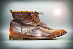 Costly autumn and spring leather shoes brown vintage style. Apply lighting effects stock photography