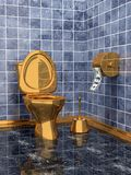 Costly golden toilet. (only millionaires Stock Image