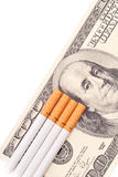 The Costly Habit Concept. With A Fake Hundred Dollar Bill stock photo