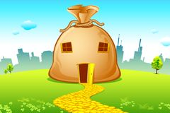 Costly House. Illustration of money bag house with road made of coin Royalty Free Stock Image