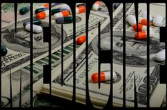 Costly medicines. Speculation medicines and pharmaceutical fraud concerns stock photos