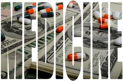 Costly medicines. Speculation medicines and pharmaceutical fraud concerns stock photo