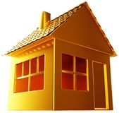 Costly realty: golden house shape isolated. On white Royalty Free Stock Photography