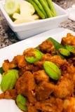 Costola di carne di maiale mescolata con pasta di curry e Parkia Fotografia Stock