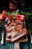 Costole arrostite col barbecue deliziose esperte con una salsa d'unto piccante Fotografia Stock Libera da Diritti