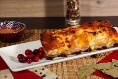Costole di carne di maiale, al forno con la salsa di senape con i mirtilli rossi fotografia stock libera da diritti