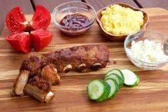 Costole di carne di maiale del BBQ immagini stock libere da diritti
