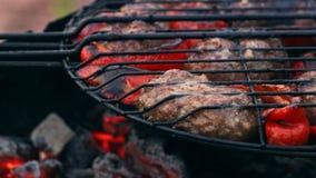 Costoleta da carne fritada na grade com pimenta doce vermelha búlgara video estoque