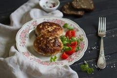 Costoletas da carne de porco com salada vegetal fotografia de stock
