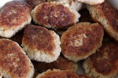Costoletas fritadas Riss?is da carne Prato da carne foto de stock royalty free