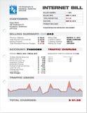 Costos Bill Document Template de la ISP del proveedor de Internet Fotografía de archivo libre de regalías