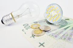 Costos en electricidad Imagen de archivo