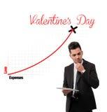 Costos para la carta del día de tarjeta del día de San Valentín. Foto de archivo libre de regalías