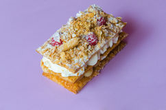 Costrada or millefeuille with raspberries and icing sugar Stock Photography
