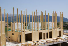 Costruction de la maison en bois photo stock