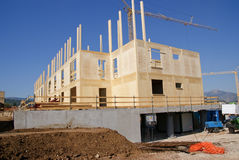 Costruction of wood house stock image