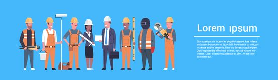 Costruction Workers Team Industrial Technicians Mix Race Man And Woman Builders Group Horizontal Banner. Flat Vector Illustration Stock Photography