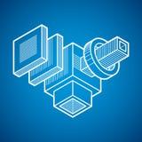 Costruendo forma astratta, figura poligonale di vettore 3d Fotografia Stock