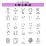 Costruendo linea insieme dell'icona - stile tratteggiato del profilo 25 illustrazione vettoriale