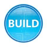 Costruisca il bottone rotondo blu floreale illustrazione di stock
