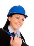 Costruisca la donna in casco Fotografie Stock Libere da Diritti