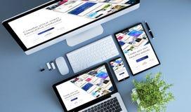 costruttore blu del sito Web dei dispositivi di vista superiore fotografia stock libera da diritti