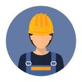 Costruttore Builder nel vestiario di protezione ed in casco Costruttore della donna Fotografie Stock