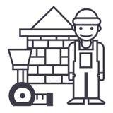 Costruttore, casa con mattoni a vista, linea icona, segno, illustrazione di vettore del tester su fondo, colpi editabili Fotografia Stock