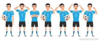 Costruttore del carattere del calciatore posizioni differenti del calciatore asiatico, emozioni fissate illustrazione di stock