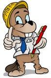 Costruttore del castoro che tiene penna rossa Fotografia Stock Libera da Diritti