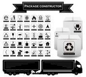 Costruttore del pacchetto simboli d'imballaggio Insieme dell'icona Illustrazione di vettore royalty illustrazione gratis