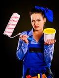 Costruttore della donna con le latte della pittura Fotografie Stock Libere da Diritti