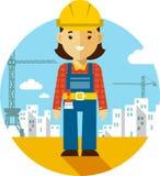 Costruttore della donna sul fondo della costruzione nello stile piano royalty illustrazione gratis