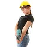 Costruttore della giovane donna con la perforatrice Immagine Stock Libera da Diritti