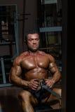 Costruttore di corpo maschio che fa esercizio pesante per la parte posteriore Fotografie Stock Libere da Diritti