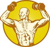 Costruttore di corpo umano maschio di anatomia che flette muscolo Fotografia Stock