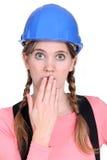 Costruttore femminile imbarazzante Fotografia Stock