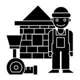 Costruttore - icona di casa del tester del mattone, illustrazione di vettore, segno nero su fondo isolato Fotografie Stock Libere da Diritti